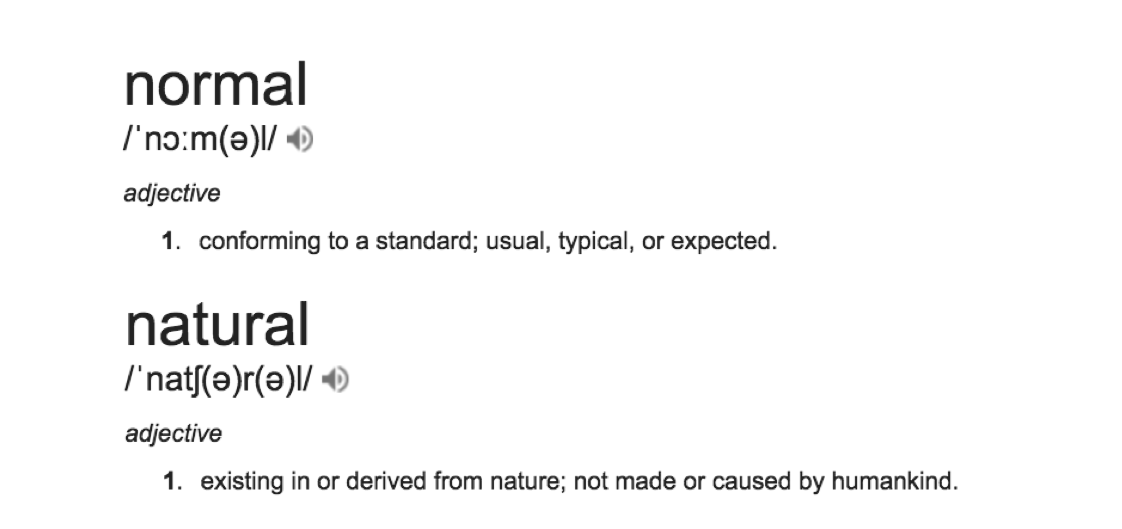 normal natural definitions